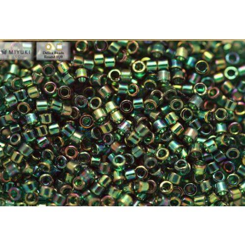 Delica gyöngy 11/0, DB0175, átl., sötétzöld AB, 4g