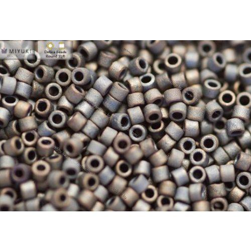 Delica gyöngy 11/0, DB0307, matt metál irizáló ezüst szürke, 4g