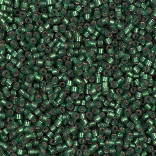 Delica gyöngy 11/0, DB0690, félmatt ezüstközepű sötét zöld, 4g