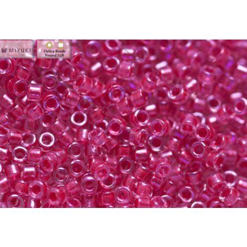 Delica gyöngy 11/0, DB0914, csillogó sötét pink közepű kristály, 4g