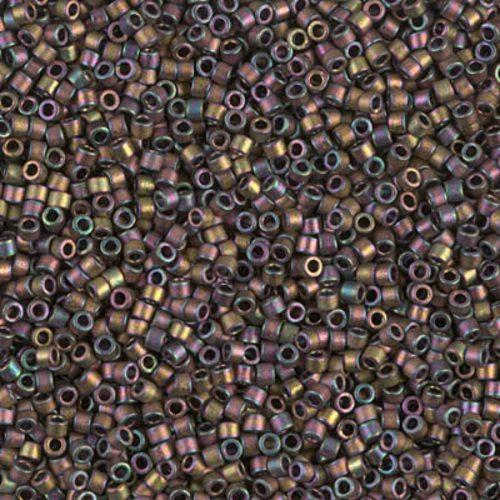 Delica gyöngy 11/0, DB1055, MATTE METALLIC RED GREEN/GOLD IRIS, 4g