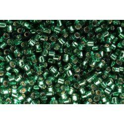 Delica gyöngy 11/0, DB1207, ezüst közepű olíva zöld, 4g