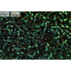 Delica gyöngy 11/0, DB1208, ezüst közepű karibi türkiz, 4g