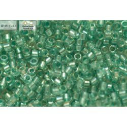 Delica gyöngy 11/0, DB1767, tenger zöld közepű kristály AB, 4g