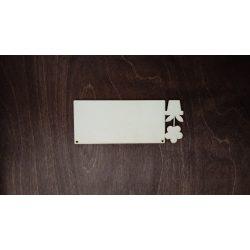 Fa tábla - Virágos, lézervágott, 150x60 mm