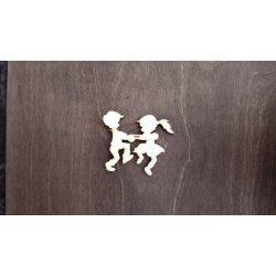 Fa figura - Táncoló gyerekek, lézervágott, 70x60x4 mm