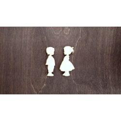 Fa figura - Kisfiú, kislány (párban) lézervágott, 50x60x4 mm