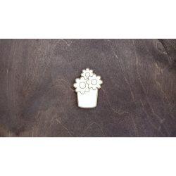 Fa figura - Virág cserépben, lézervágott, 44x60x4 mm