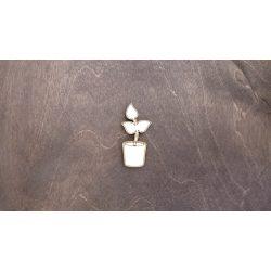 Fa figura - Növény cserépben, lézervágott, 28x60x4 mm