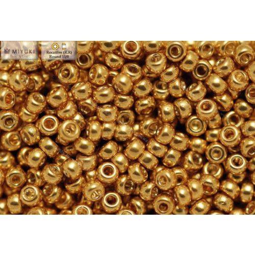 Japán kásagyöngy Miyuki 11/0, galvanizált sárga arany, 10g