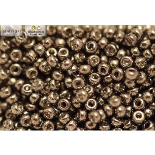 Japán kásagyöngy Miyuki 11/0, galvanizált sötét acél, 10g