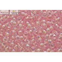 Japán kásagyöngy Miyuki 11/0, pink közepű kristály AB, 10g