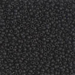 Japán kásagyöngy Miyuki 11/0, matt telt fekete, 10g