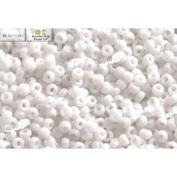 Japán kásagyöngy Miyuki 11/0, telt fehér, 10g