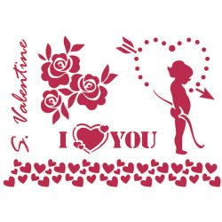 Stencil D méret 20x15cm - Cupid and flowers KSD225