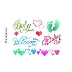 Stencil D méret 20x15cm -Baby Welcome KSD295