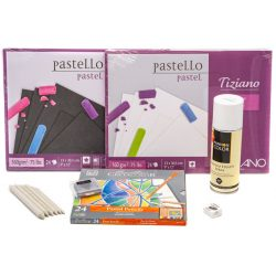 Cretacolor pasztell ceruza készlet, pasztell tömbökkel monopol radírral, papírceruzával, hegyezővel és fixatívval