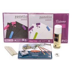 Derwent pasztell ceruza készlet, pasztell tömbökkel monopol radírral, papírceruzával, hegyezővel és fixatívval