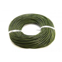 Marhabőr szál, kerekített, sötét oliva zöld, 2mm