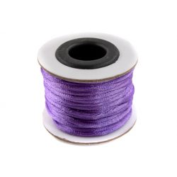 Szatén zsinór (rattail) 2mm, lila 10m