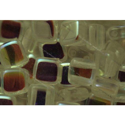 Kétlyukú négyzet, kristály AB, 25 db