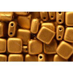 Kétlyukú négyzet, matt metál azték arany, 25 db