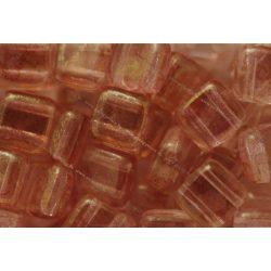 Kétlyukú négyzet, lüszteres kristály topáz/rózsaszín, 25 db