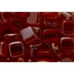 Kétlyukú négyzet, lüszteres kr. rubint, 25db
