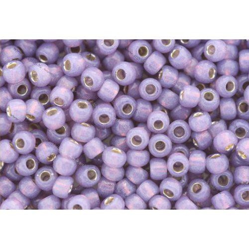 Japán kásagyöngy TOHO 6/0, ezüstközepű opál levander, 10g