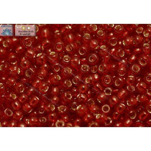 Japán kásagyöngy TOHO 6/0, ezüstközepű gránát vörös, 10g