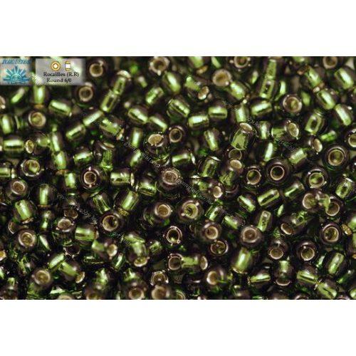 Japán kásagyöngy TOHO 6/0, ezüstközepű olivazöld, 10g