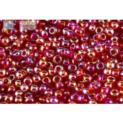 Japán kásagyöngy TOHO 11/0, átlátszó, szivárványos sötét rubint, 10g