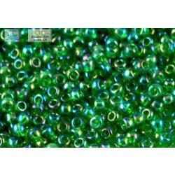 Japán kásagyöngy TOHO 11/0, átlátszó, szivárványos fűzöld, 10g