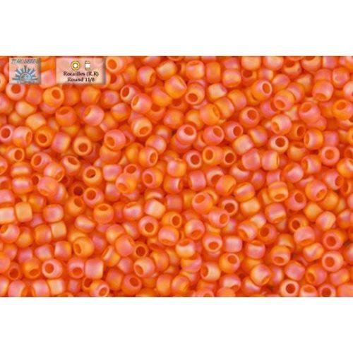 Japán kásagyöngy TOHO 11/0, átlátszó, szivárványos-fagyos narancs, 10g