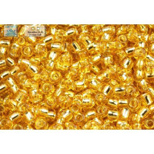 Japán kásagyöngy TOHO 11/0, ezüstközepű  vil. arany, 10g