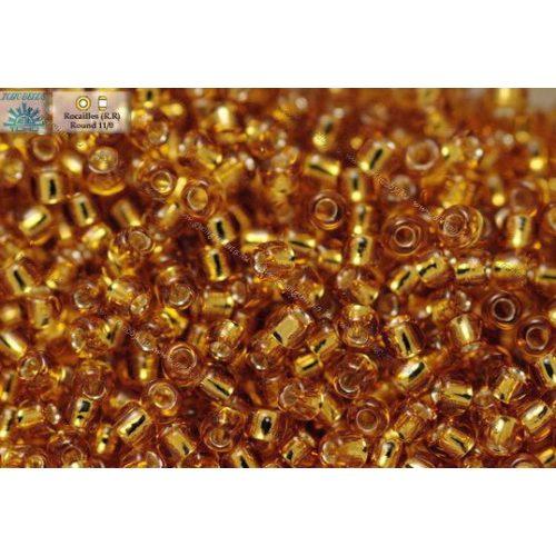 Japán kásagyöngy TOHO 11/0, ezüstközepű sötét arany, 10g