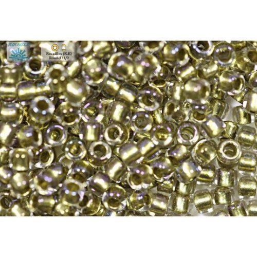 Japán kásagyöngy TOHO 11/0, kristályközepű, arany lüszteres, 10g