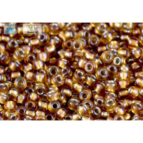 Japán kásagyöngy TOHO 11/0, aranyközepű, szivárványos topázó, 10g