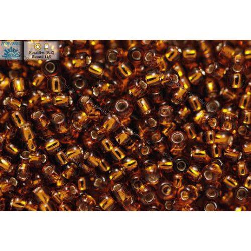 Japán kásagyöngy TOHO 11/0, ezüstközepű füstös topáz, 10g