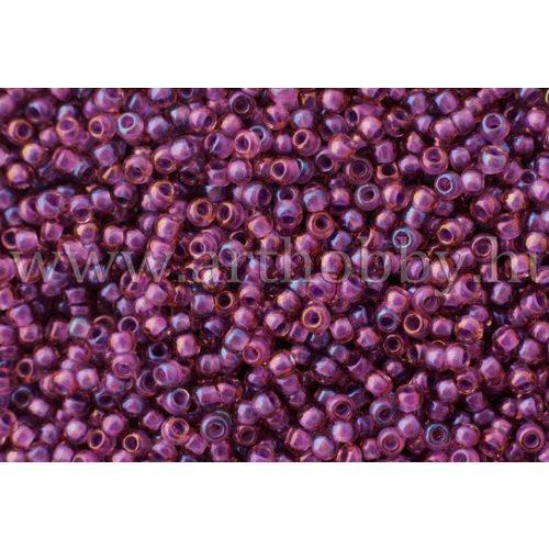Japán kásagyöngy TOHO 11/0, szivárványos rosaline közepű, telt lila, 10g