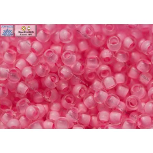 Japán kásagyöngy TOHO 11/0, festett közepű szegfű rózsaszín, 10g