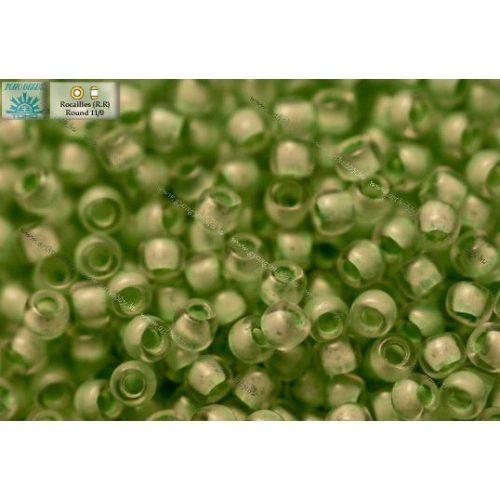 Japán kásagyöngy TOHO 11/0, festett közepű tengeriszivacs zöld, 10g