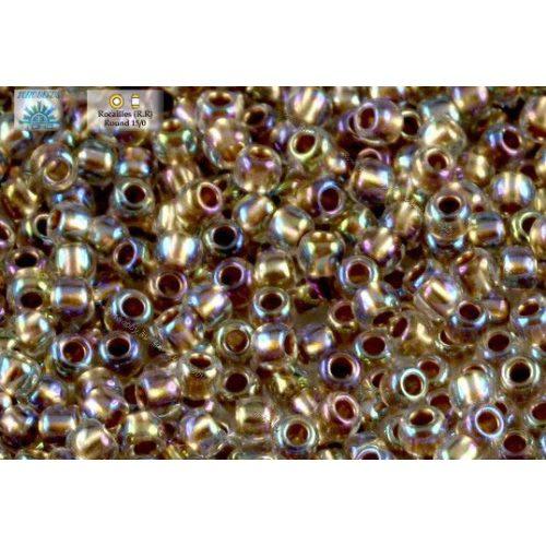 Japán kásagyöngy TOHO 11/0, aranyközepű szivárványos kristály, 10g