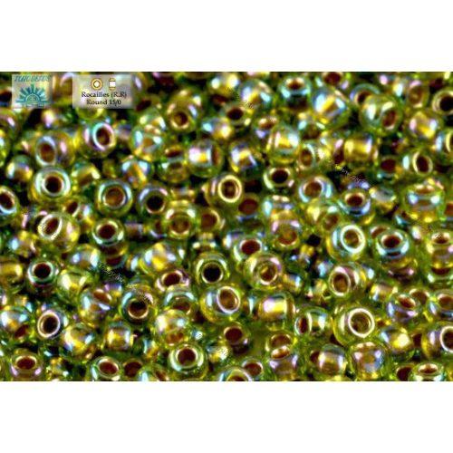 Japán kásagyöngy TOHO 11/0, aranyközepű szivárványos oliva, 10g