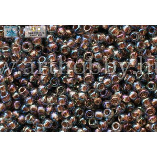 Japán kásagyöngy TOHO 11/0, aranyközepű szivárványos fekete gyémánt , 10g