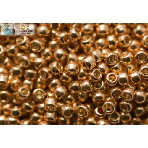Japán kásagyöngy TOHO 11/0, tartós bevonat, galvanizált rose gold, 10g