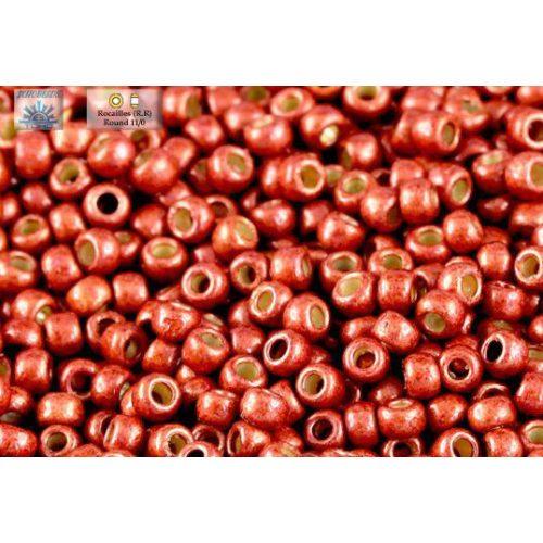 Japán kásagyöngy TOHO 11/0, tartós bevonat, galvanizált matt téglavörös, 10g