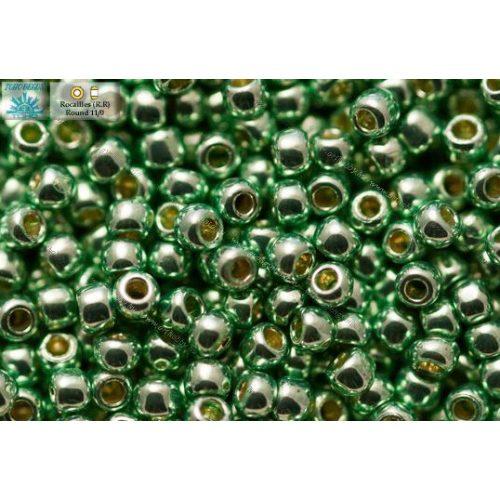 Japán kásagyöngy TOHO 11/0, tartós bevonat, galvanizált matt menta zöld, 10g