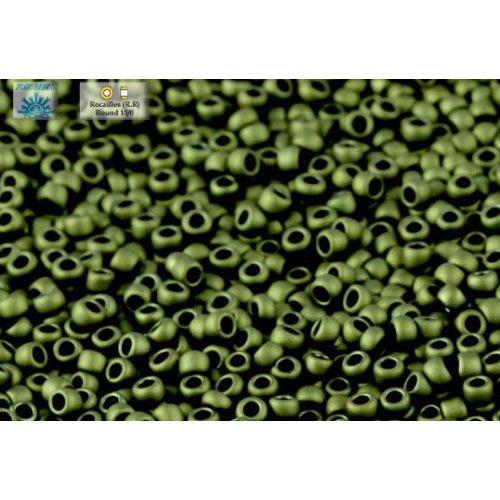 Japán kásagyöngy TOHO 15/0, matt sötét oliva, 5g