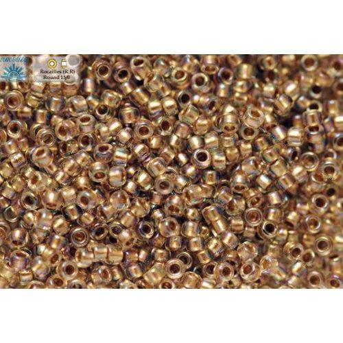 Japán kásagyöngy TOHO 15/0, aranyközepű szivárványos kristály, 5g
